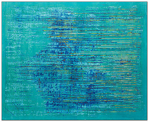 Monochrome painting by Simon James. Title SJ Blue V. Gesso on canvas. Year 2020. Colours, Blue, turquoise, yellow, white